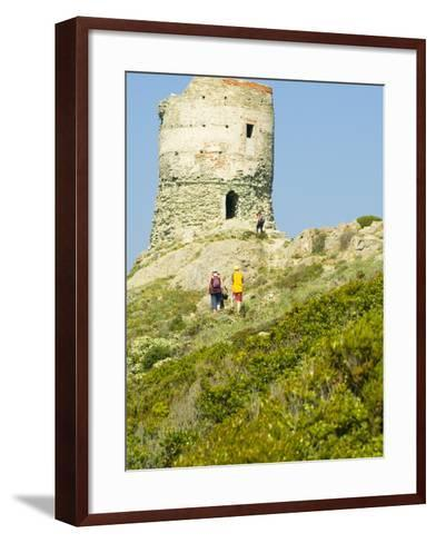 Family Walking in Blooming Maquis to Genoese Tower, Le Sentier Des Douaniers, Cap Corse-Trish Drury-Framed Art Print