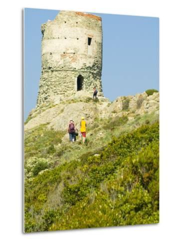 Family Walking in Blooming Maquis to Genoese Tower, Le Sentier Des Douaniers, Cap Corse-Trish Drury-Metal Print