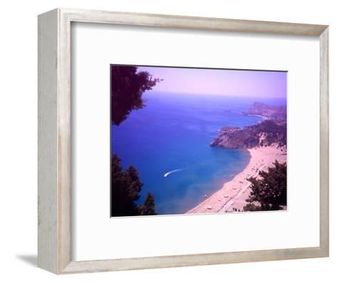 Beach at Tsambika from the Monastery, Rhodes, Dodecanese Islands, Greece-Steve Outram-Framed Art Print