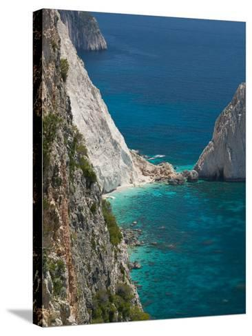 Cliffs at Cape Keri, Zakynthos, Ionian Islands, Greece-Walter Bibikow-Stretched Canvas Print