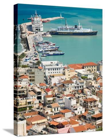 Town and Port, Zakynthos, Ionian Islands, Greece-Walter Bibikow-Stretched Canvas Print