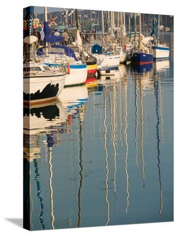Sailboat Reflections, Southern Harbor, Lesvos, Mithymna, Northeastern Aegean Islands, Greece-Walter Bibikow-Stretched Canvas Print