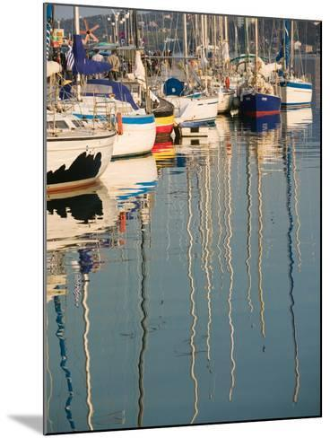 Sailboat Reflections, Southern Harbor, Lesvos, Mithymna, Northeastern Aegean Islands, Greece-Walter Bibikow-Mounted Photographic Print