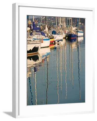 Sailboat Reflections, Southern Harbor, Lesvos, Mithymna, Northeastern Aegean Islands, Greece-Walter Bibikow-Framed Art Print