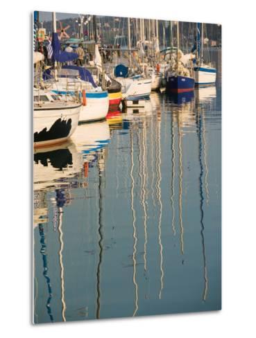 Sailboat Reflections, Southern Harbor, Lesvos, Mithymna, Northeastern Aegean Islands, Greece-Walter Bibikow-Metal Print