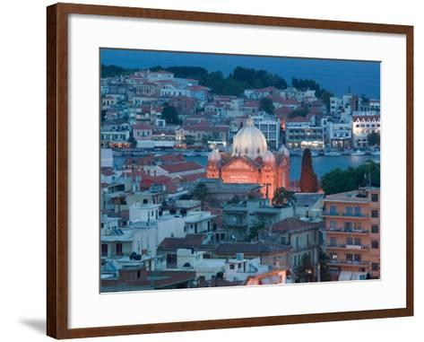 Waterfront View of Southern Harbor and Agios Therapon Church, Lesvos, Mytilini-Walter Bibikow-Framed Art Print