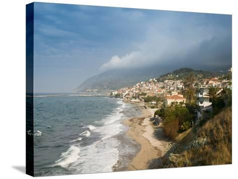 South Lesvos Resort Town, Plomari, Lesvos, Mithymna, Aegean Islands, Greece-Walter Bibikow-Stretched Canvas Print