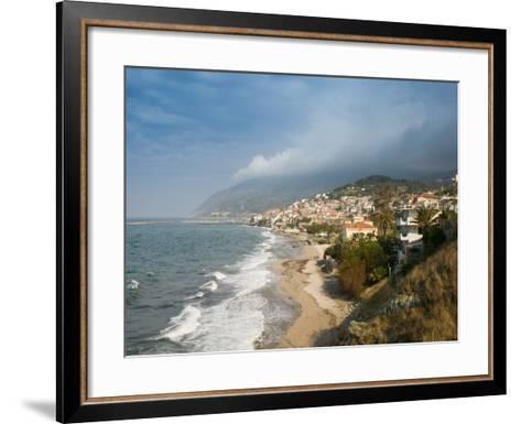 South Lesvos Resort Town, Plomari, Lesvos, Mithymna, Aegean Islands, Greece-Walter Bibikow-Framed Art Print