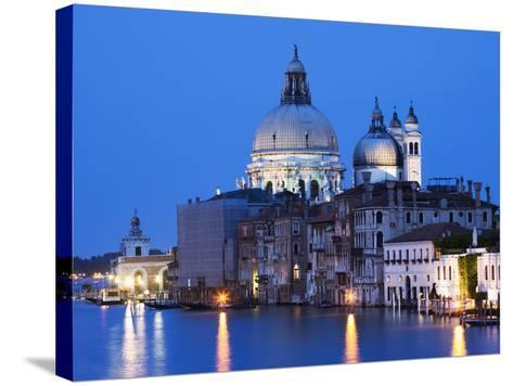Santa Maria della Salute Cathedral from Academia Bridge along the Grand Canal at Dusk, Venice-Dennis Flaherty-Stretched Canvas Print