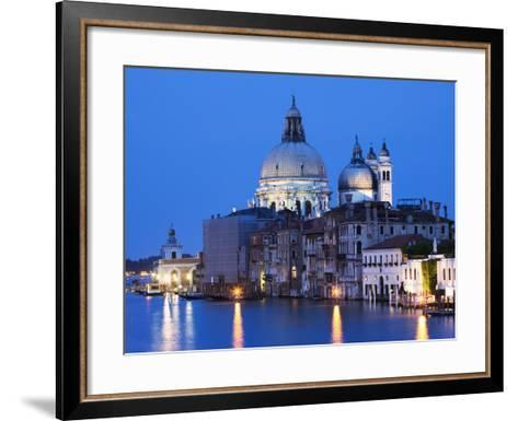 Santa Maria della Salute Cathedral from Academia Bridge along the Grand Canal at Dusk, Venice-Dennis Flaherty-Framed Art Print