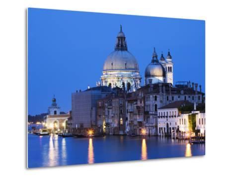Santa Maria della Salute Cathedral from Academia Bridge along the Grand Canal at Dusk, Venice-Dennis Flaherty-Metal Print