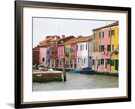 Boats and Colorful Homes in Canal, Burano, Italy-Dennis Flaherty-Framed Art Print