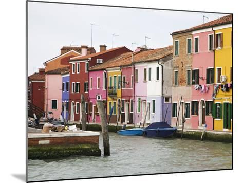 Boats and Colorful Homes in Canal, Burano, Italy-Dennis Flaherty-Mounted Photographic Print