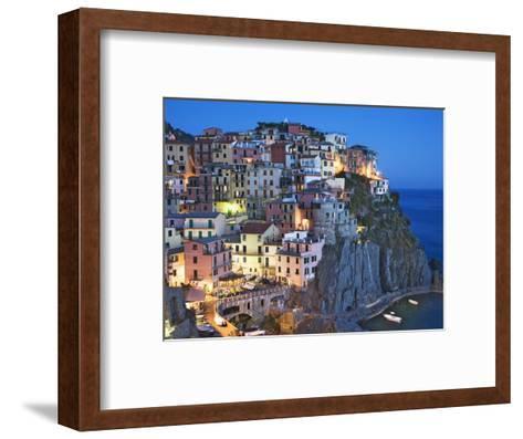 Dusk Falls on a Hillside Town Overlooking the Mediterranean Sea, Manarola, Cinque Terre, Italy-Dennis Flaherty-Framed Art Print