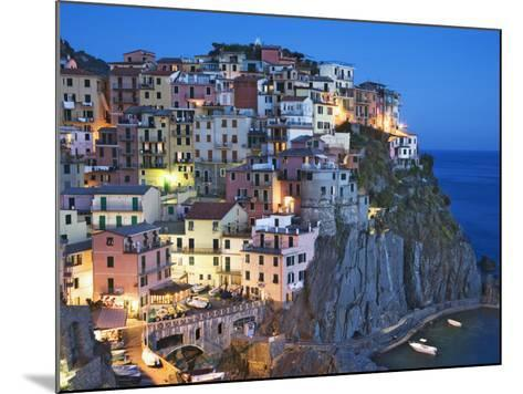 Dusk Falls on a Hillside Town Overlooking the Mediterranean Sea, Manarola, Cinque Terre, Italy-Dennis Flaherty-Mounted Photographic Print