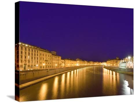 Lights Reflect on the Arno River, Pisa, Italy-Dennis Flaherty-Stretched Canvas Print