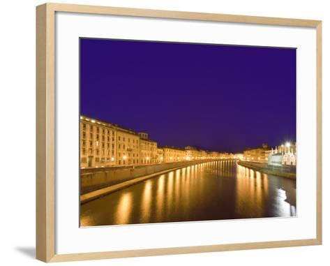 Lights Reflect on the Arno River, Pisa, Italy-Dennis Flaherty-Framed Art Print
