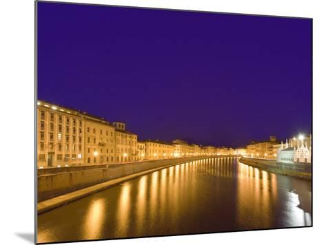 Lights Reflect on the Arno River, Pisa, Italy-Dennis Flaherty-Mounted Photographic Print