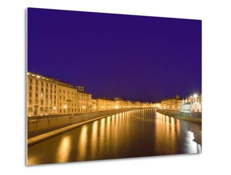 Lights Reflect on the Arno River, Pisa, Italy-Dennis Flaherty-Metal Print