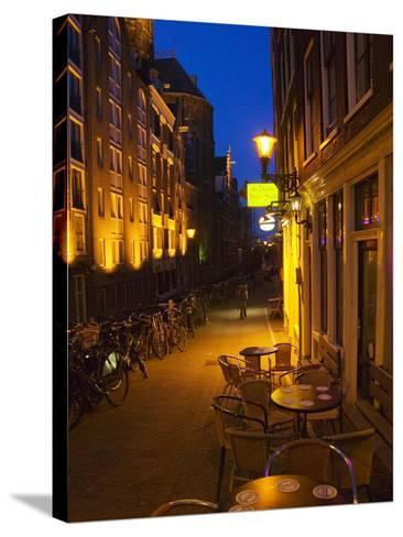 Buildings with Historic Facade and Narrow Lane at Night, Amsterdam, Netherlands-Keren Su-Stretched Canvas Print