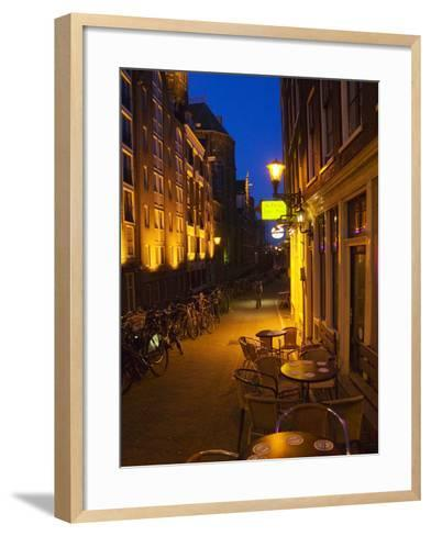 Buildings with Historic Facade and Narrow Lane at Night, Amsterdam, Netherlands-Keren Su-Framed Art Print