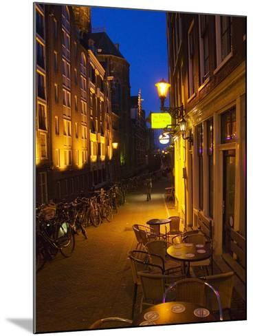 Buildings with Historic Facade and Narrow Lane at Night, Amsterdam, Netherlands-Keren Su-Mounted Photographic Print