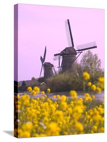 Windmills Along the Canal in Kinderdijk, Netherlands-Keren Su-Stretched Canvas Print