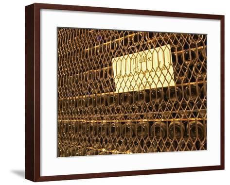 Aging Bottles of Malbec, Bodega Familia Schroeder Winery, Neuquen, Patagonia, Argentina-Per Karlsson-Framed Art Print