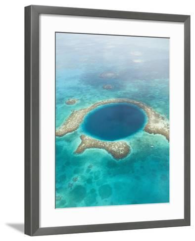 Aerial of Blue Hole, Sailboat Anchored, Lighthouse Atoll, Belize-Stuart Westmoreland-Framed Art Print