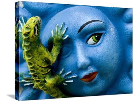 Ceramic Plaque Face and Lizard, San Miguel De Allende, Mexico-Nancy Rotenberg-Stretched Canvas Print