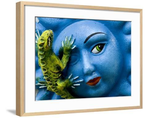 Ceramic Plaque Face and Lizard, San Miguel De Allende, Mexico-Nancy Rotenberg-Framed Art Print