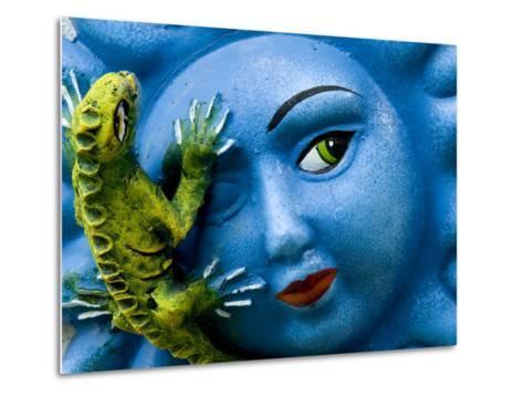 Ceramic Plaque Face and Lizard, San Miguel De Allende, Mexico-Nancy Rotenberg-Metal Print