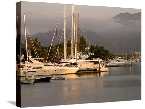 Boats Docked in Marina Vallarta Against Fog-Shrouded Mountains, Puerto Vallarta, Mexico-Nancy & Steve Ross-Stretched Canvas Print