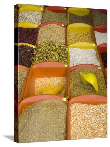 Corn and Grains Displayed in Market, Cuzco, Peru-John & Lisa Merrill-Stretched Canvas Print