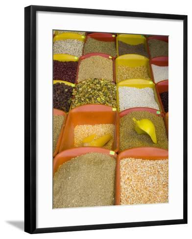 Corn and Grains Displayed in Market, Cuzco, Peru-John & Lisa Merrill-Framed Art Print