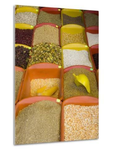 Corn and Grains Displayed in Market, Cuzco, Peru-John & Lisa Merrill-Metal Print