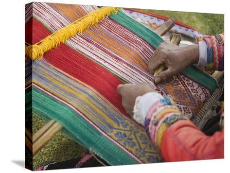 Woman Weaving, Traditional Backstrap Loom, Cuzco, Peru-John & Lisa Merrill-Stretched Canvas Print