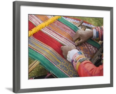 Woman Weaving, Traditional Backstrap Loom, Cuzco, Peru-John & Lisa Merrill-Framed Art Print
