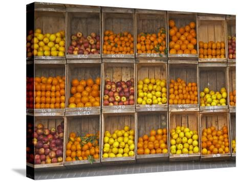 Fruit and Vegetable Shop in Wooden Crates, Montevideo, Uruguay-Per Karlsson-Stretched Canvas Print