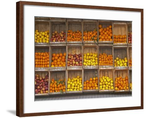 Fruit and Vegetable Shop in Wooden Crates, Montevideo, Uruguay-Per Karlsson-Framed Art Print