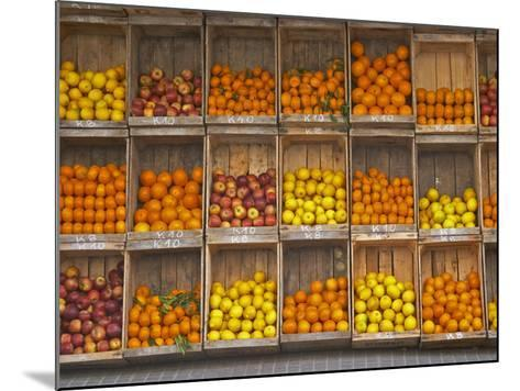 Fruit and Vegetable Shop in Wooden Crates, Montevideo, Uruguay-Per Karlsson-Mounted Photographic Print