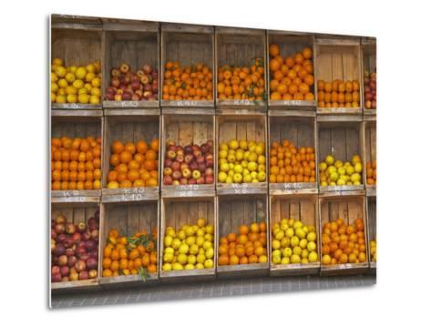 Fruit and Vegetable Shop in Wooden Crates, Montevideo, Uruguay-Per Karlsson-Metal Print