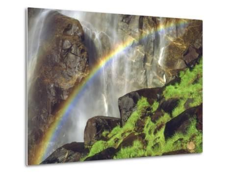 Rainbow at the Base of Bridal Veil Falls, Yosemite National Park, California, USA-Christopher Talbot Frank-Metal Print