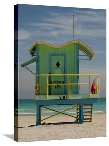 Lifeguard Station on 8th Street, South Beach, Miami, Florida, USA-Nancy & Steve Ross-Stretched Canvas Print