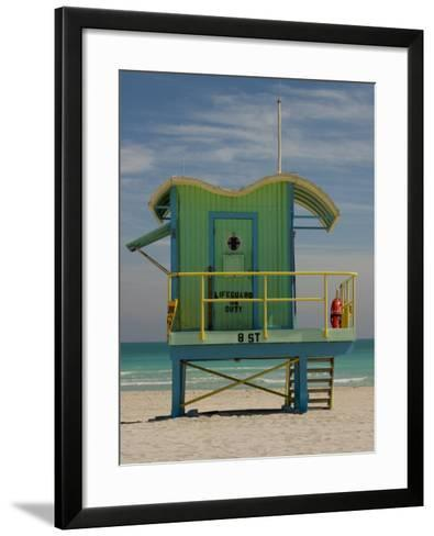 Lifeguard Station on 8th Street, South Beach, Miami, Florida, USA-Nancy & Steve Ross-Framed Art Print