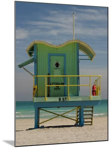 Lifeguard Station on 8th Street, South Beach, Miami, Florida, USA-Nancy & Steve Ross-Mounted Photographic Print