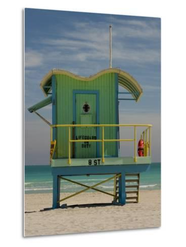 Lifeguard Station on 8th Street, South Beach, Miami, Florida, USA-Nancy & Steve Ross-Metal Print