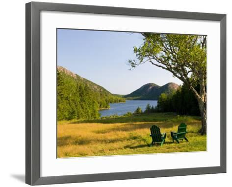 Adirondack Chairs on the Lawn of the Jordan Pond House, Acadia National Park, Mount Desert Island-Jerry & Marcy Monkman-Framed Art Print