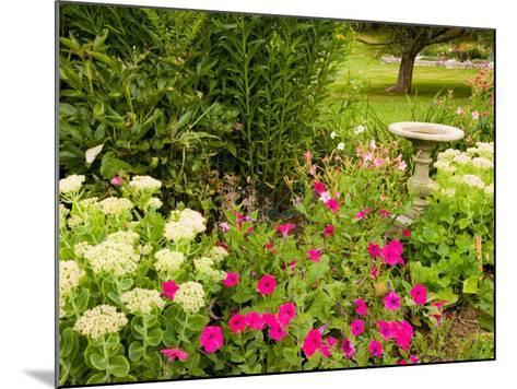 Birdbath and Flowers, Oakland House Seaside Resort, Brooksville-Jerry & Marcy Monkman-Mounted Photographic Print