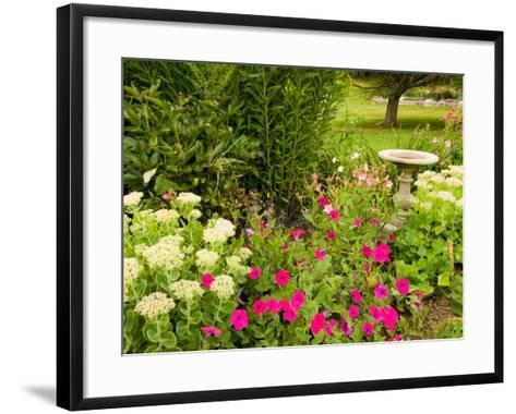 Birdbath and Flowers, Oakland House Seaside Resort, Brooksville-Jerry & Marcy Monkman-Framed Art Print